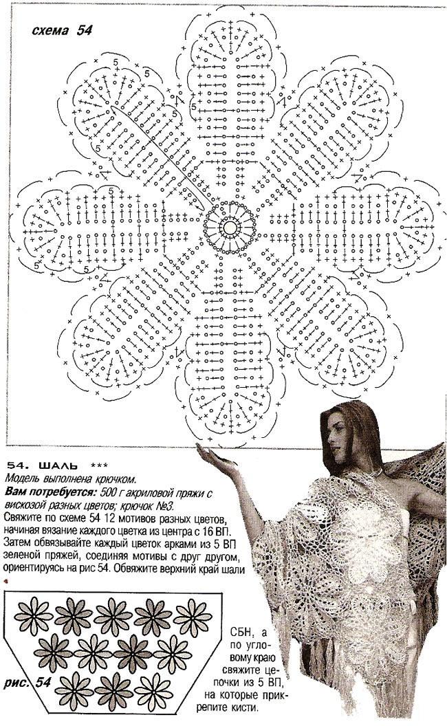 Шали крючком схемы из мотивов крючком схемы и описание