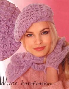 вязание шапка, шарф, перчатки