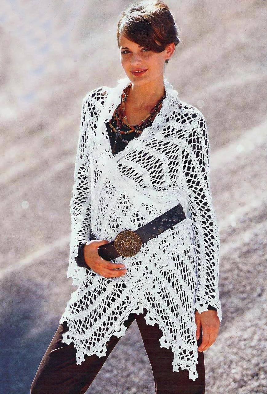Метки.  20 Фев 2010.  Вязание для женщин. крючком. связан.  Белый сетчатый. жакет, пуловер.