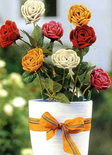 Цветы вязаные и схемы.