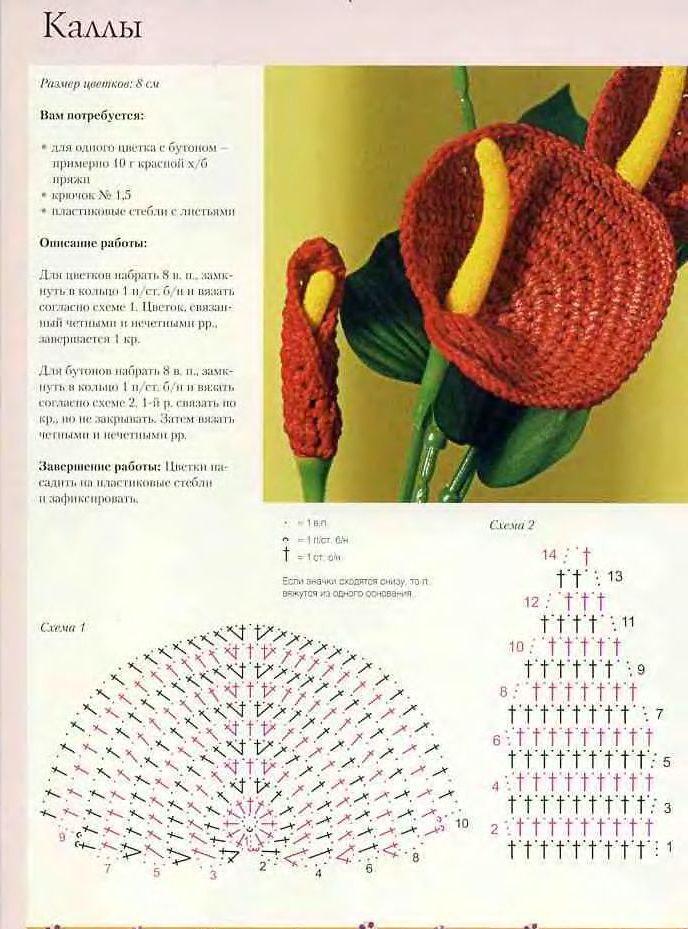Вязаные крючком цветы 51