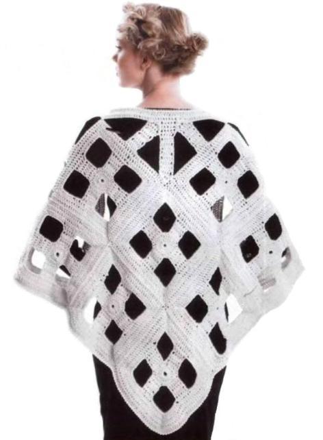 """Необычная, современная шаль вязанная крючком в стиле  """"модерн """".  Прекрасный подарок для себя любимой."""