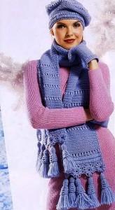 берет, шарф, варежки крючком