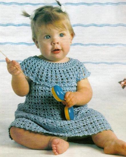 Вязание крючком платье для девочки схема.