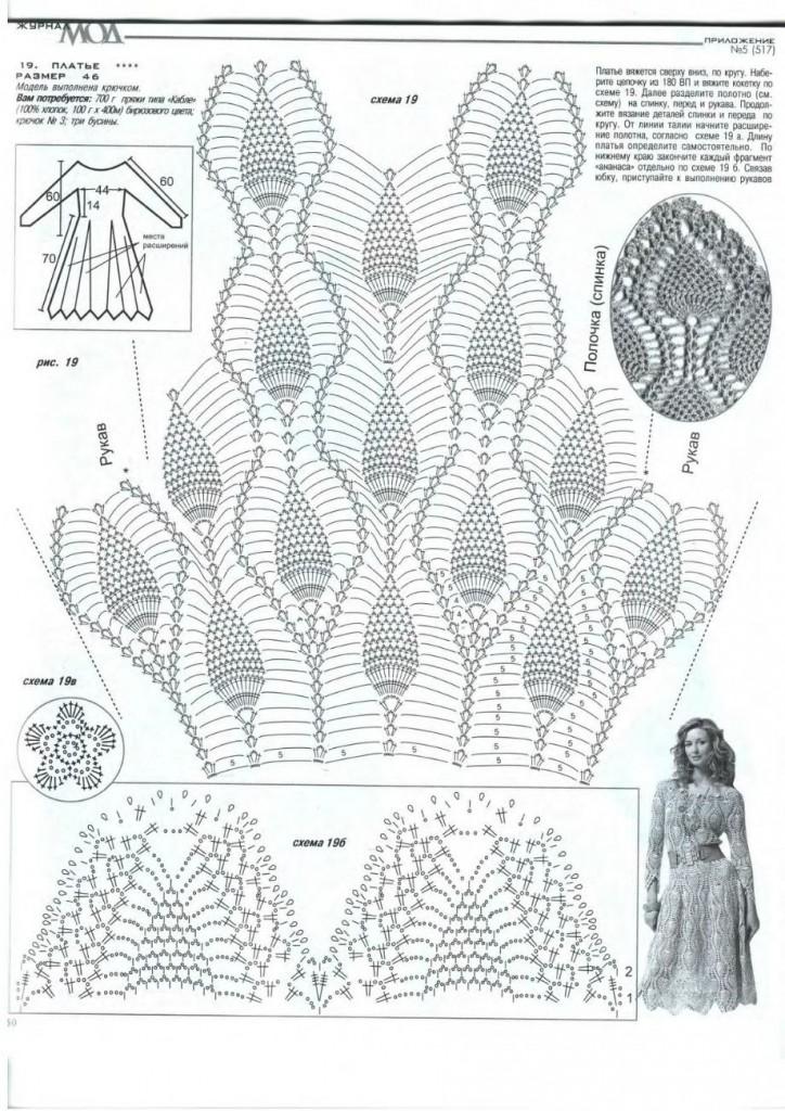 Вязание крючком платье ананасами для девочки крючком 78