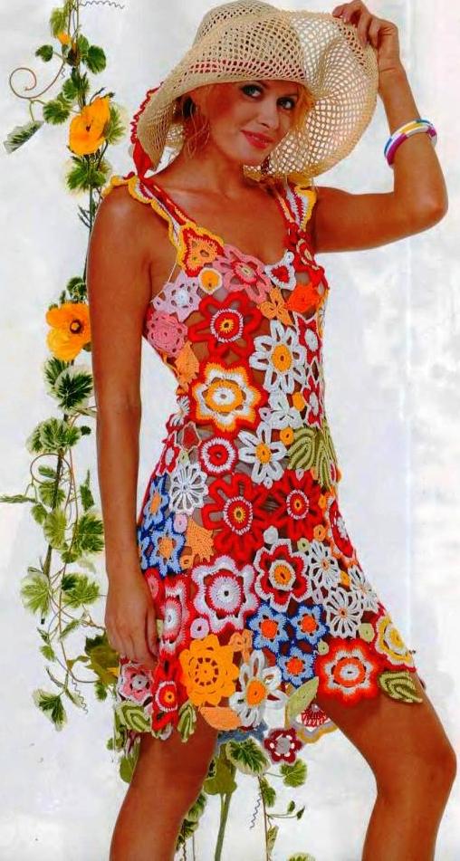 вязаный летний сарафан, платье.