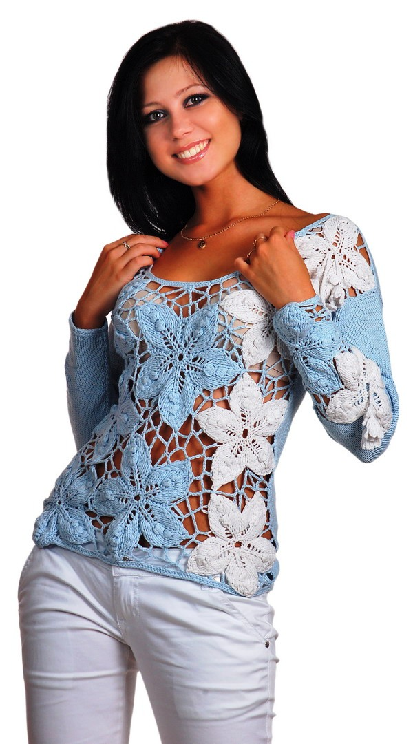 ирландское кружево. кофточка. пуловер. узоры схема. вязание крючок. цветочки. @темы.