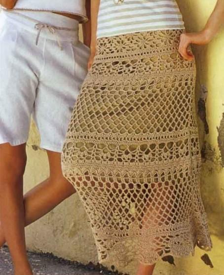 Песочная юбка крючком на