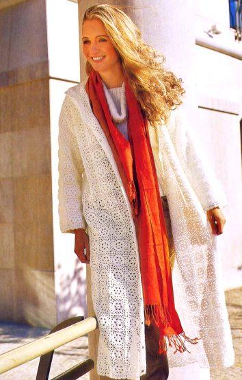 Для вязание этого пальто Вам потребуется 700 гр. белоснежной акриловой пряжи и крючок 2. Вязаные платья, туники...