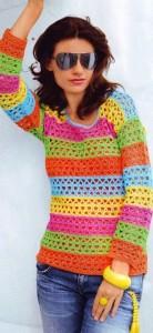 пуловер крючком на лето