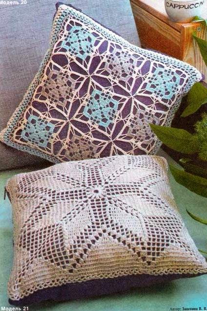 Ажурные подушки с цветочнвми
