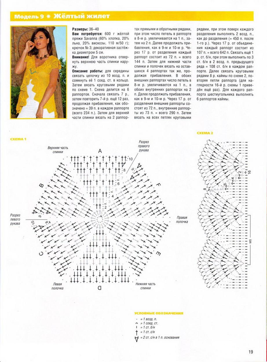 Вязание крючком безрукавки для женщин со схемами