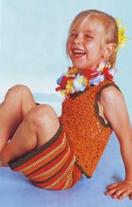 вязаная юбка и топ для девочки