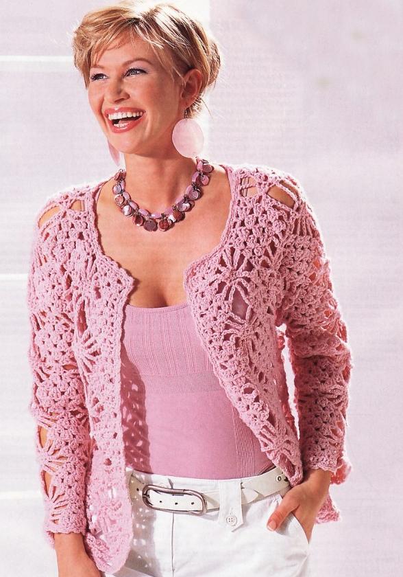 fashion for women: pink lace cardigan, free crochet patterns
