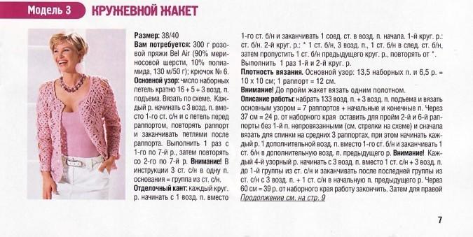 Розовая кофточка с кружевными вставками - описание, схемы фото