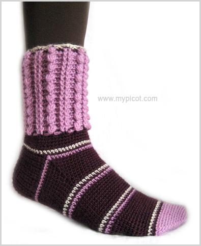Мастер класс.  Вязаные ажурные носки вязанные крючком.