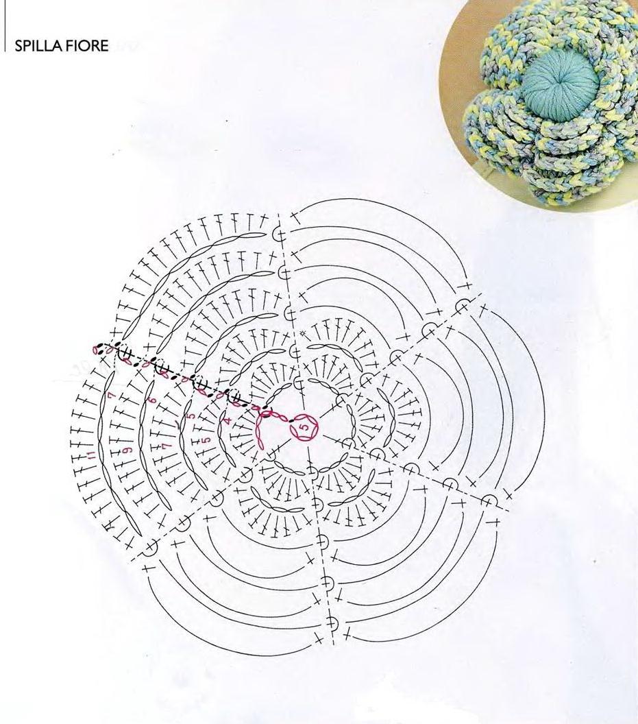 Вязание многослойного цветка схемы