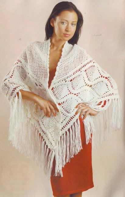"""Шикарная белая шаль Для вязания это восхитительной шали Вам потребуется: белая пряжа  """"Наташа """" 500 гр. (50% шерсть..."""
