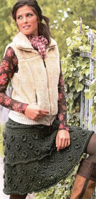 Филейная вязаная юбка с кокеткой из.