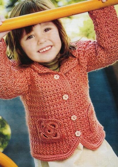 кофточка для девочки 5-6 лет.  Все гениальное - просто.