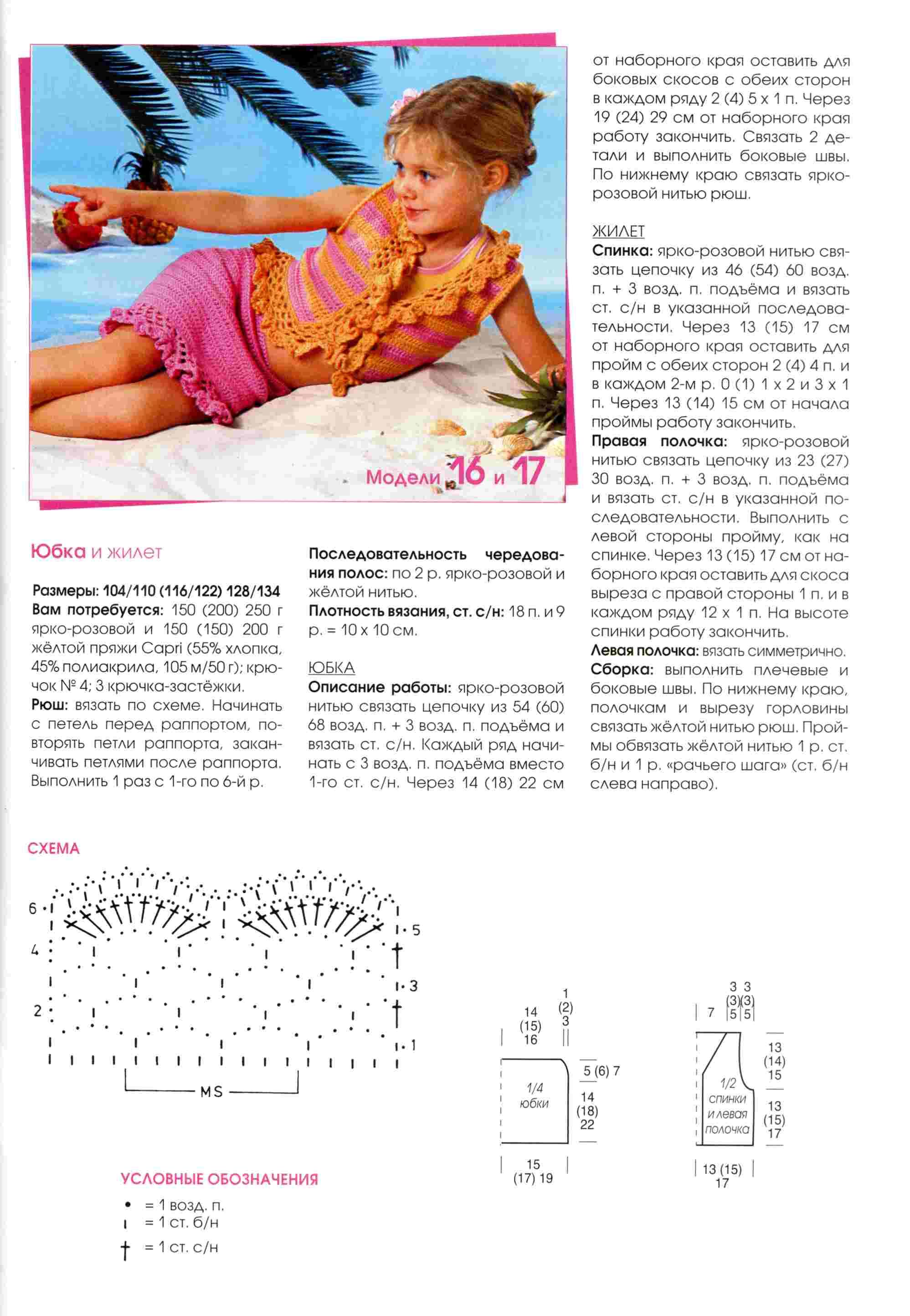 Вязание юбок для девочек с описанием и схемой