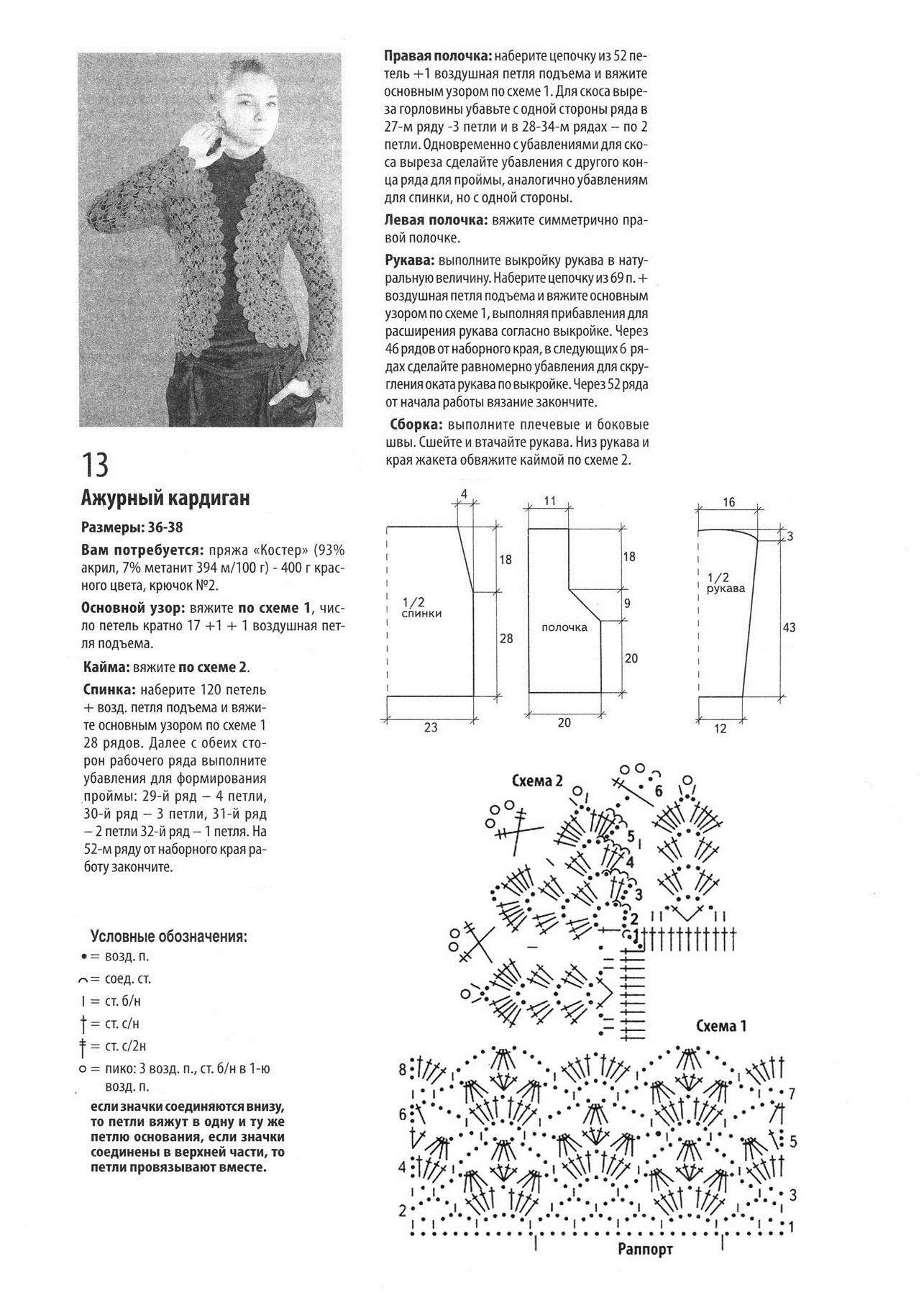 Вязание крючком кардиган с схемой ажурный