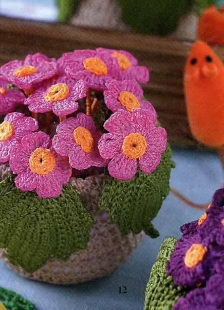 Схемы вязанные крючком цветы.
