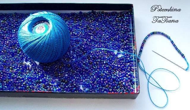Вязание нитками с бисером