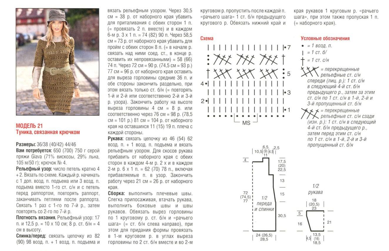 Пляжная туника крючком : схемы и описание Вяжем : Пляжная туника крючком 56