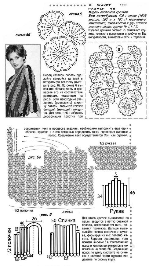 Ленточное вязание крючком схемы с моделями
