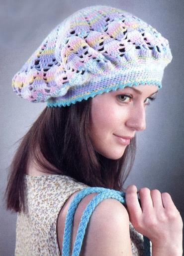 Вязание крючком шапки береты схемы.