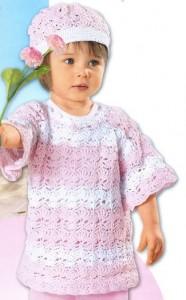 пуловер крючком и шапочка