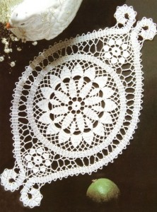 Салфетка овальной формы связана крючком 1. Размер салфетки: 20,5 см*35 см. Схема.