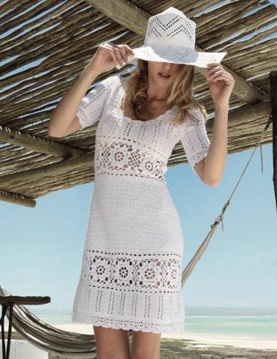 Белое платье крючком.  Платья, сарафаны для женщин.  Категория.