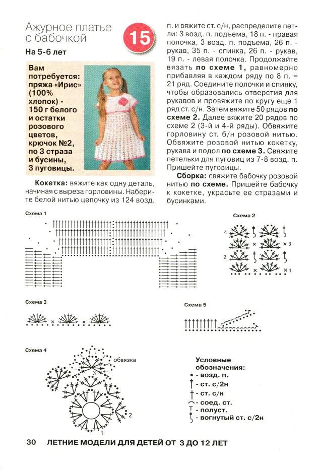 Схемы для вязания крючком для детей платья 176