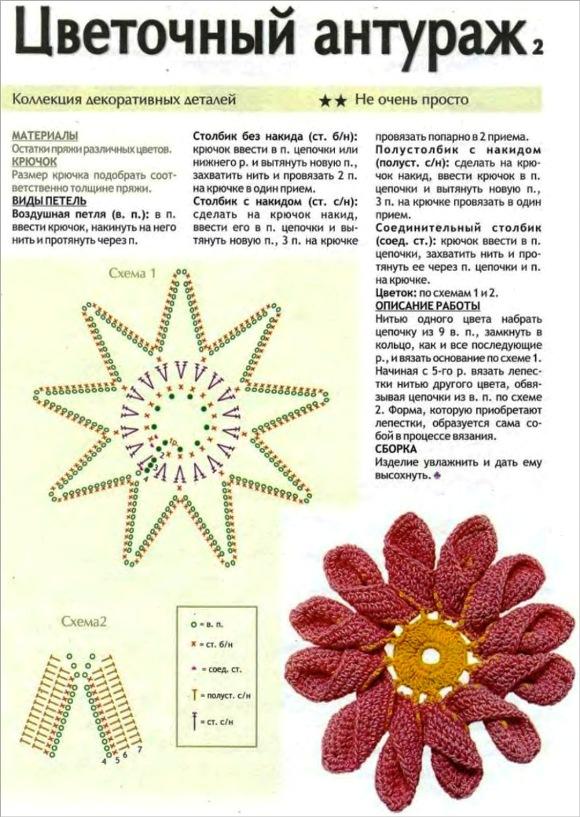 Цветок крючком схема и описание мастер класс