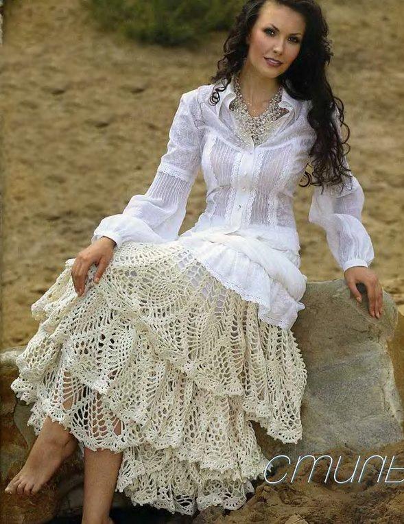 Пышная юбка с оборками связана