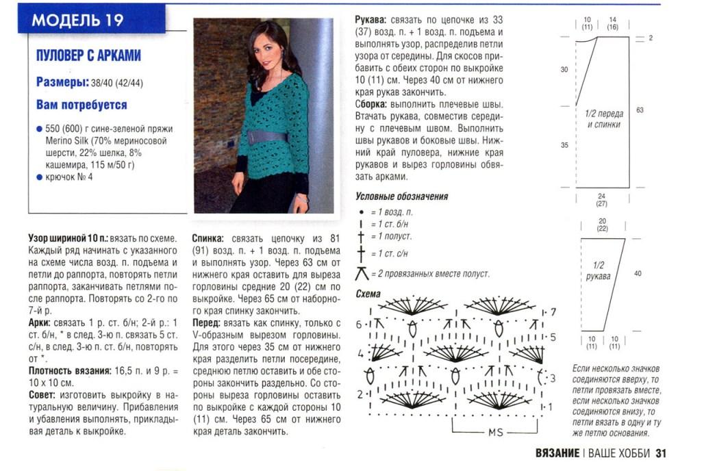 Женские свитера крючком схемы и описание 2015