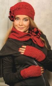 шапочка крючком и шарф