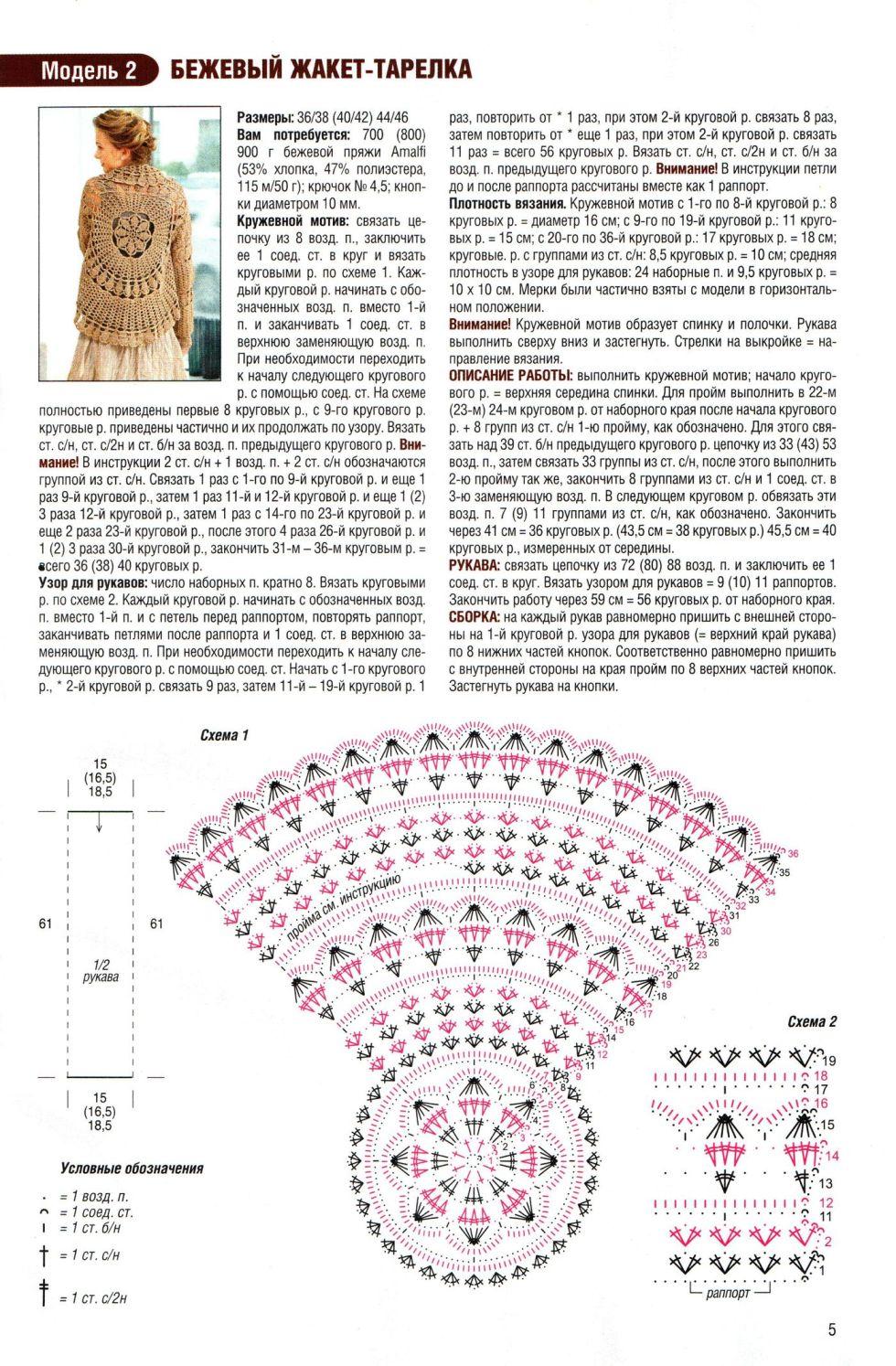 Схемы вязания крючком жакеты схемы