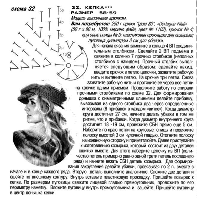 Описание: кеппи для женщин крючком - Вязание.