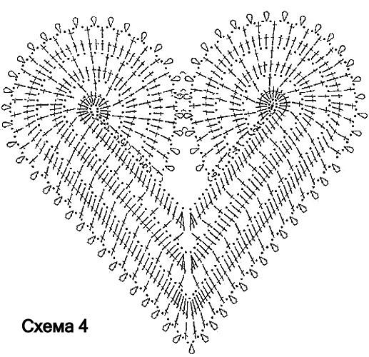 сердце крючком. схема сердца