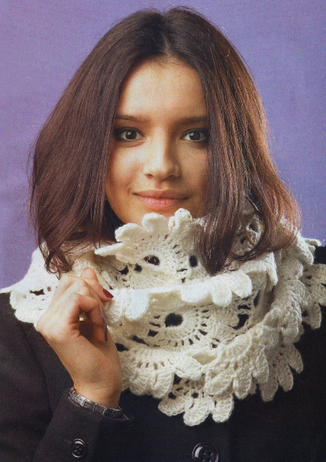 Вязаный кружевной шарф. крючком. кружево. интересная техника вязания.  Прочитать целикомВ.
