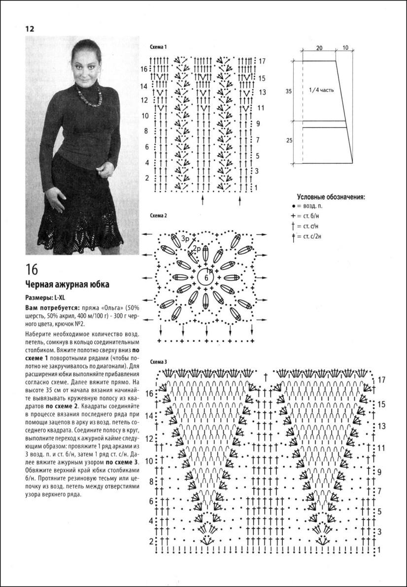 Вязание крючком юбки для женщин со схемами 59