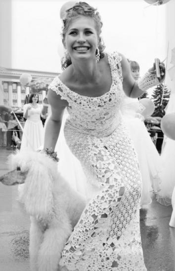 Вязаное свадебное платье будет не