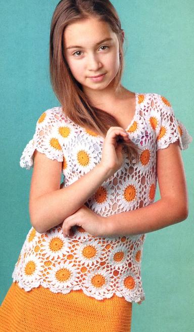 вязаная юбка и туника для девочки.