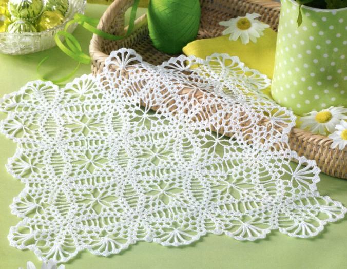 Для вязания салфетки потребуется: белая хлопчатобумажная пряжа (280 м/50 г) , крючок 1,5. Размер салфетки 28*28 см.