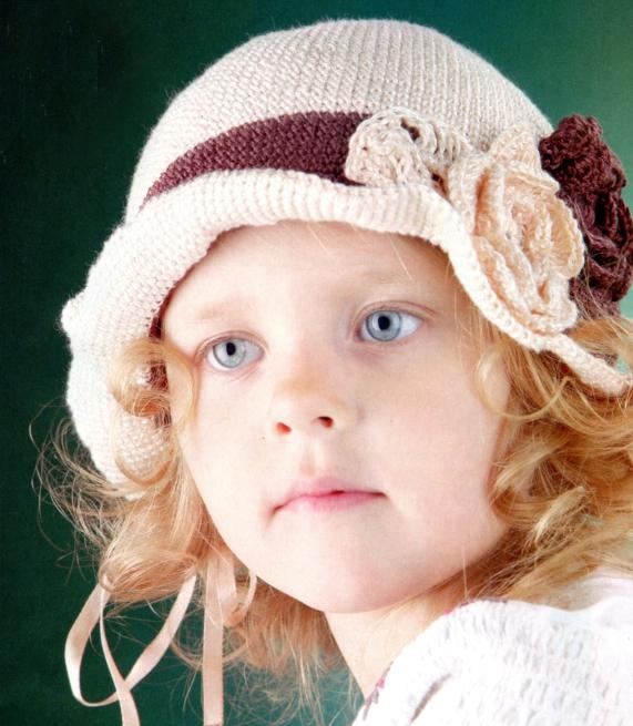 """Для вязания шляпки Вам потребуется:пряжа  """"Нежность """" (100% хлопок) -60 г бежевого и коричневого цветов, крючок 1,6..."""