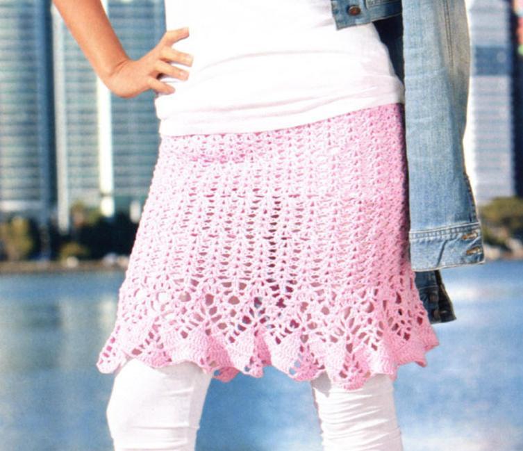 Вязаная юбка крючком с рюшами