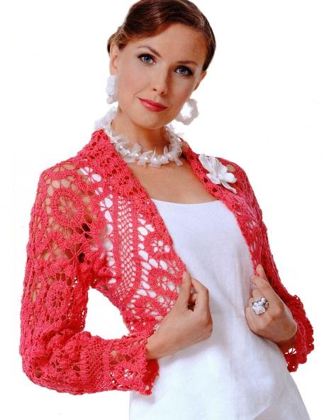 Болеро - актуальный элемент гардероба каждой женщины.  Схема вязания болеро крючком.  Yaromila Volkova.